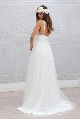 Elegant White Spaghetti Straps 2020 Wedding Dress Summer Beach Tulle Floor Length BA3218_3
