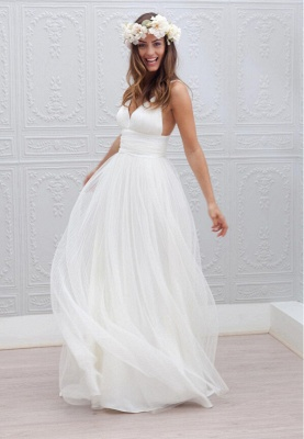 Elegant White Spaghetti Straps 2020 Wedding Dress Summer Beach Tulle Floor Length BA3218_1