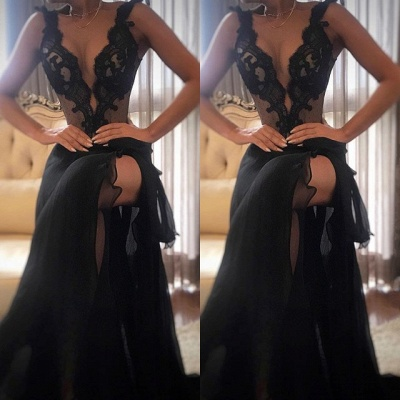 Sexy Black Prom Dress | 2020 Lace Evening Gowns With Slit_3