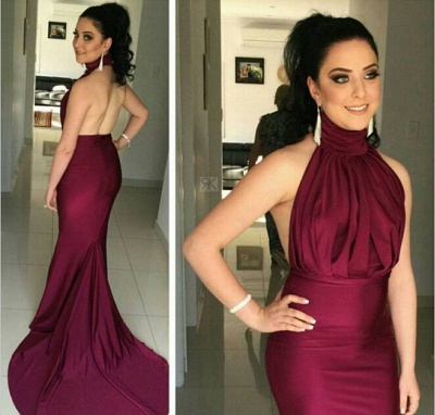 Glitz High-Neck Burgundy Prom Dresses 2020 Mermaid Long Party Gowns_3