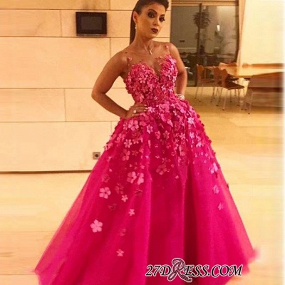 Fuchsia Sleeveless Prom Dress | 2020 Long Evening Party Dress With Appliques_2