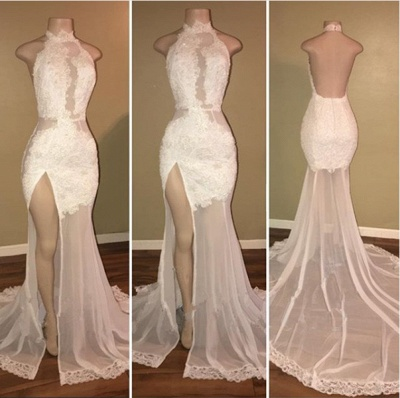 Elegant White Lace Halter 2020 Prom Dress Mermaid Backless Party Dress With Slit BA8228_3