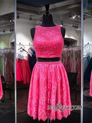 2020 Sleeveless Jewel Mini Two-Pieces Beads A-line Newest Homecoming Dress_3