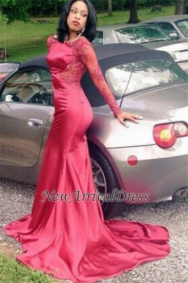 New Sexy Appliques Backless Long-Sleeves Red Mermaid Prom Dress BK0_2