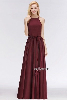 Cheap Chiffon Burgundy Simple A-Line Bridesmaid Dress_2