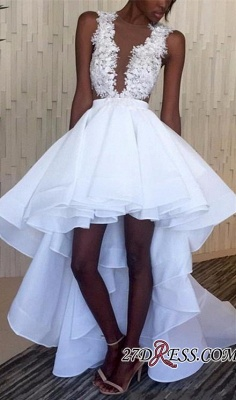 Lace White Appliques Ruffles Sleeveless Hi-Lo Wedding Dress BA3775_2