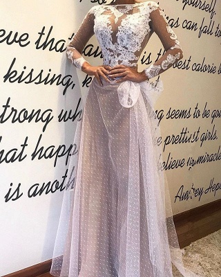 Elegant Long Sleeve Evening Dress | 2020 Lace Mermaid Tulle Prom Dress_1