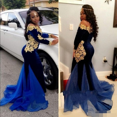 Royal blue mermaid prom dress,Long sleeve evening dresses 2020 BK0 BA8153_3