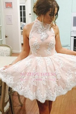 Lace Lovely High-Neck Short Sleeveless Homecoming Dress BA3646_1
