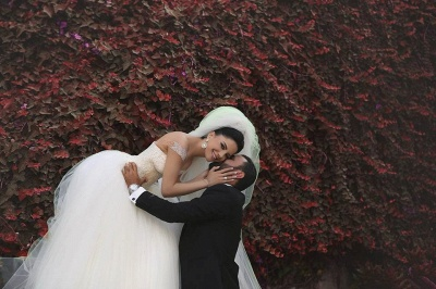 Elegant Off-shoulder Tulle Wedding Dress Ball Gown With Beadings_5