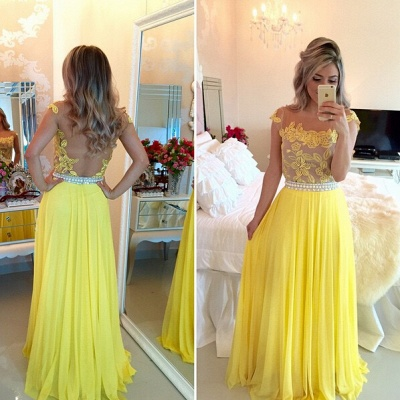 Delicate Yellow Chiffon Pearls Prom Dress 2020 Lace Appliques BT0_2