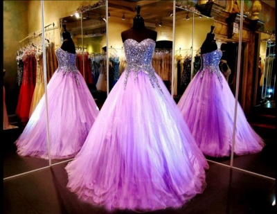 Luxurious Sweetheart Princess Tulle Evening Dress Crystals Sequins_2