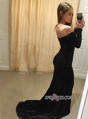 Simple Black Mermaid Prom Dresses | Off-The-Shoulder Long-Sleeves Evening Dresses_2
