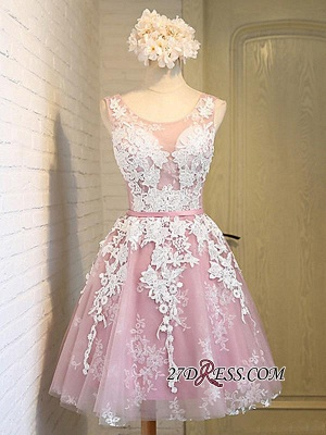 2020 Sleeveless Jewel Pink Lace Open-Back Sash Appliques Lace-Up Cheap Homecoming Dresses_4