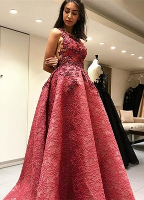 Beautiful Sleeveless Lace Appliques 2020 Evening Dress Long Party Gowns_1