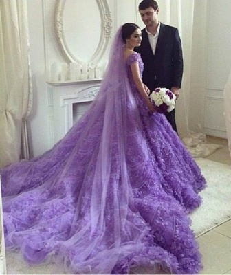 Glamorous Purple Off-the-shoulder Wedding Dress 2020 Long Train Flowers BAFRW0010_3