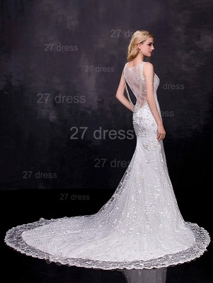 Delicate Straps Mermaid Lace Appliques Wedding Dress Sweep Train_2