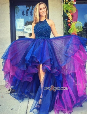 Organza Hi-Lo Beadings Gorgeous Sleeveless 2020 Prom Dress_1