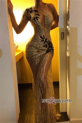 Sexy One Shoulder Long Sleeve Prom Dress | 2020 Mermaid Sequins Evening Gowns BC0954_3