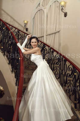 Bo Designer Wedding Dresses on Sale Hot Beautiful Bridal Gowns White Sale 2020 Strapless Appliques Sequined Satin A-line_2
