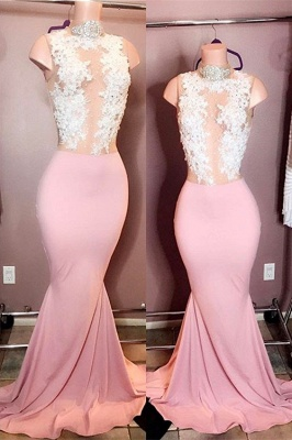Elegant High-Neck Sleeveless Pink Prom Dresses | 2020 Mermaid Lace Evening Gowns_1