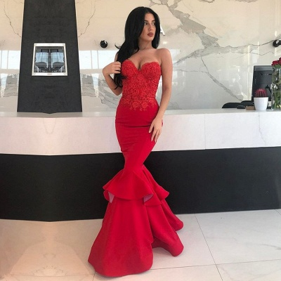 Sexy Red Mermaid Prom Dresses | 2020 Lace Sweetheart Long Evening Gowns_2