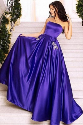 Gorgeous Strapless A-Line Prom Dress | Purple Sleeveless Long Evening Gown_2