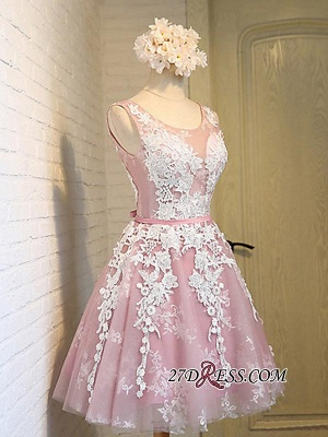2020 Sleeveless Jewel Pink Lace Open-Back Sash Appliques Lace-Up Cheap Homecoming Dresses_3