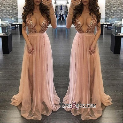 Side-Slit Floor-Length Sequined Sexy Deep-V-Neck Prom Dress_2