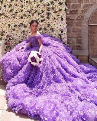 Glamorous Purple Off-the-shoulder Wedding Dress 2020 Long Train Flowers BAFRW0010_1