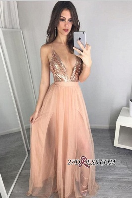 Side-Slit Floor-Length Sequined Sexy Deep-V-Neck Prom Dress_3