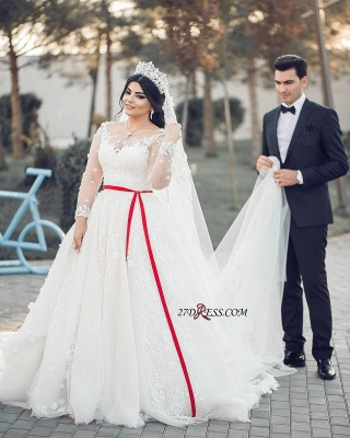A-Line Lace Tulle White Long-Sleeves Long Wedding Dresses_2