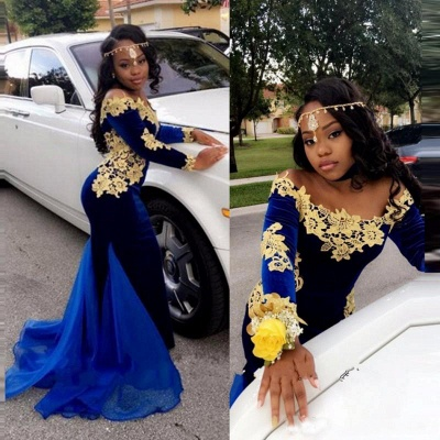 Royal blue mermaid prom dress,Long sleeve evening dresses 2020 BK0 BA8153_4