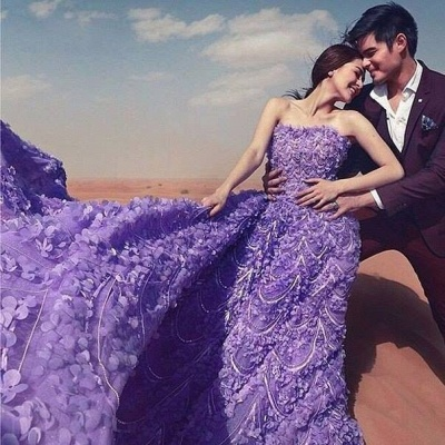 Glamorous Purple Off-the-shoulder Wedding Dress 2020 Long Train Flowers BAFRW0010_5