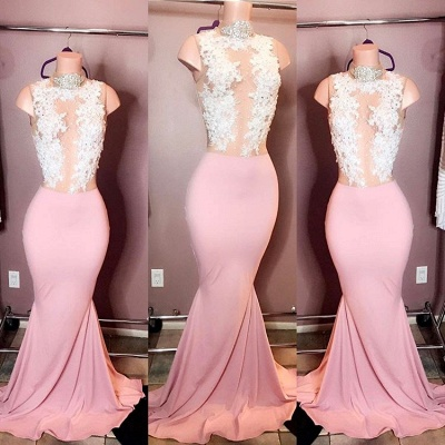 Elegant High-Neck Sleeveless Pink Prom Dresses | 2020 Mermaid Lace Evening Gowns_2