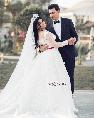 A-Line Lace Tulle White Long-Sleeves Long Wedding Dresses_3