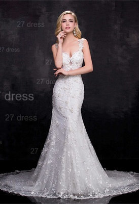 Delicate Straps Mermaid Lace Appliques Wedding Dress Sweep Train_1