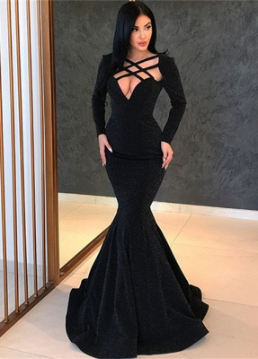 Sexy Black Long Sleeve Evening Gowns | 2020 Mermaid Long Prom Gowns BC0315_1