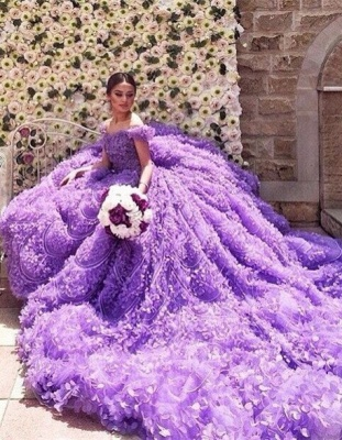 Glamorous Purple Off-the-shoulder Wedding Dress 2020 Long Train Flowers BAFRW0010_6