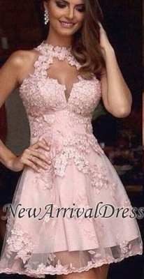 Tulle Pink Halter A-Line Appliques Short Cheap Homecoming Dress_2