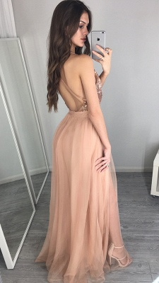 Side-Slit Floor-Length Sequined Sexy Deep-V-Neck Prom Dress_4