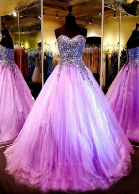 Luxurious Sweetheart Princess Tulle Evening Dress Crystals Sequins_1