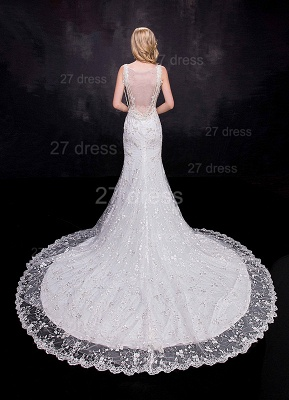 Delicate Straps Mermaid Lace Appliques Wedding Dress Sweep Train_3