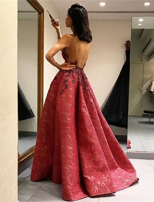 Beautiful Sleeveless Lace Appliques 2020 Evening Dress Long Party Gowns_3