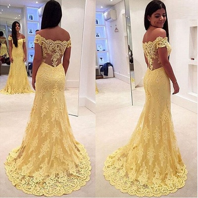 Modern Yellow Lace Appliques Evening Dress 2020 Mermaid Off-the-shoulder_4