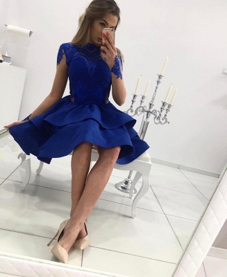 Elegant Royal Blue Long Sleeve 2020 Homecoming Dress Lace Prom Gowns BC0048_4
