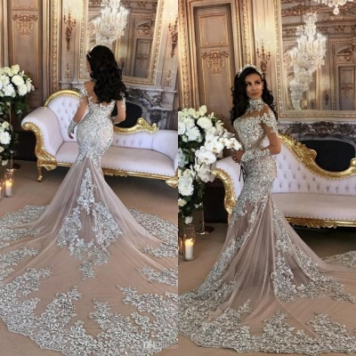 Silver Luxury Lace Long-Sleeve Mermaid High-Neck Wedding Dresses BH-362_7