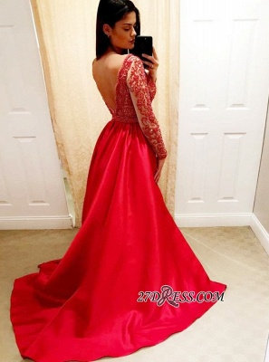 2020 Red Beading A-Line Prom Dresses | V-Neck Long-Sleeves Backless Evening Dresses_2