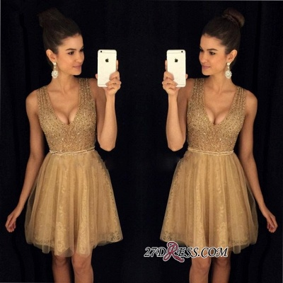 A-Line Short V-Neck Sleeveless Sexy Tulle Prom Dresses_2