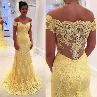 Modern Yellow Lace Appliques Evening Dress 2020 Mermaid Off-the-shoulder_3